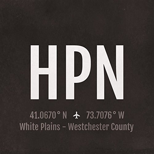 White Plains Westchester Airport Code Print - HPN Aviation Art - New York Airplane Nursery Poster, Wall Art, Travel Gifts, Aviation - White Westchester Plains The