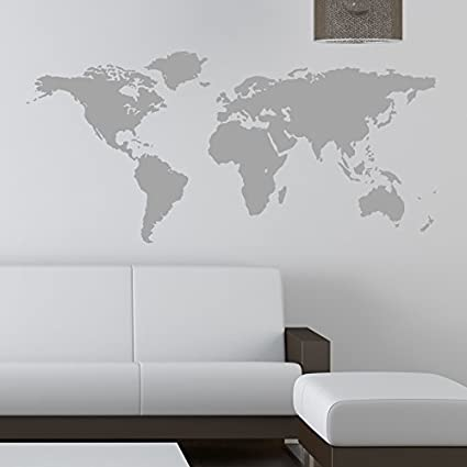 Mapa del mundo adhesivo de pared, vinilo auto-adhesivo, negro ...