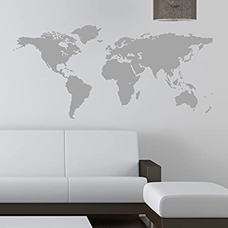 World map wall sticker kids wall sticker decals 120 grey