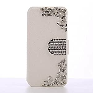 Iphone 6 Plus Case,Silk Pattern Handmade Heart Design Crystal Button Case For Apple Iphone 6 5.5 Inch,White