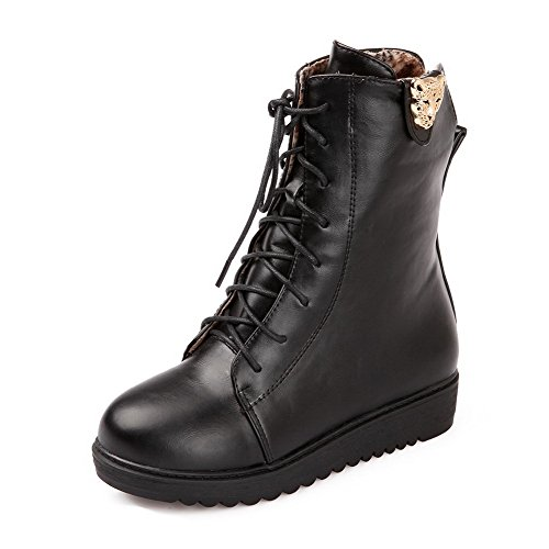 Black B Metalornament Womens US 5 with M and PU Banage Solid AmoonyFashion Boots PU Round Toe Material Closed Soft 6fwgaqPd