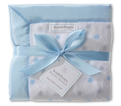 SwaddleDesigns Stroller Blanket, Cozy Microfleece, Pastel Blue and Sterling Dots with Satin Trim