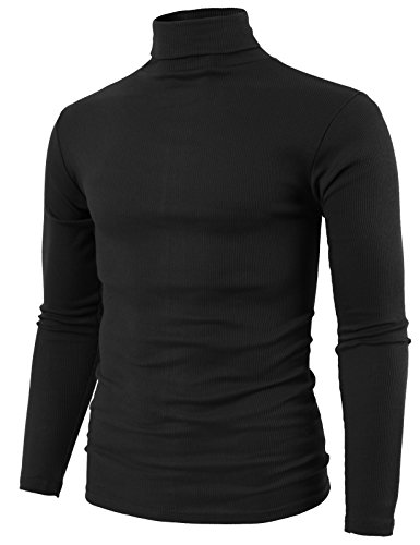 - H2H Mens Fashion Slim Fit Cotton Lightweight Turtle-Neck T-Shirt Black US XL/Asia 2XL (KMTTL0410)