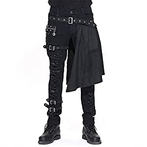 Devil Fashion Men Trouers with Kilt Holes Gothic Detachable Slim Casual Pants