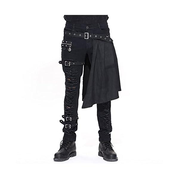 Devil Fashion Men Trouers with Kilt Holes Gothic Detachable Slim Casual Pants 3