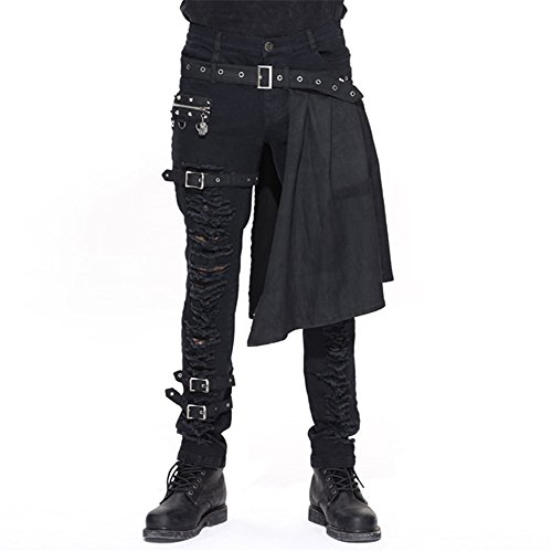 Devil Fashion Men Trouers with kilt Holes Gothic Detachable Slim Casual Pants ()