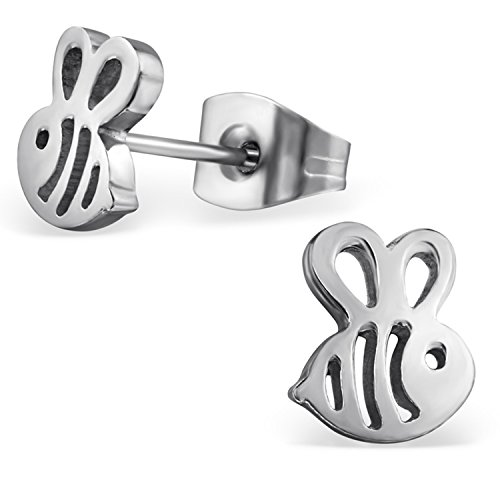 (Stainless Steel Tiny Honey Bumble Bee Stud Post Earrings)