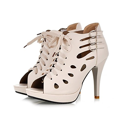 Oppicong Sneakers 2016 Womens High Heel Sandals Lace Up Hollow Out Plus Size Open Toe Boots Ladies Pump Beige95 B(M) US In Winter - Philadelphia In Airport Shops