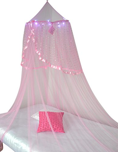 Princess Bed Canopy with LED Lights (pink) (Kid Canopy Bed compare prices)