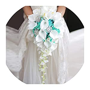 Waterfall Green White Wedding Flowers Bridal Bouquets Artificial Pearls Crystal Wedding Bouquets Bouquet De Mariage Rose 109