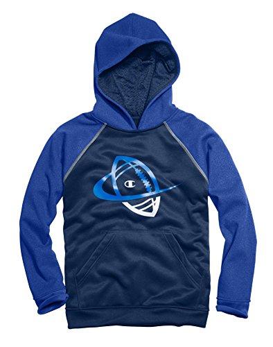 CHAMPION Boys' Tech Fleece Graphic Pullover Hood - C8387D - Team Blue Heather/Navy/Carbon, Large