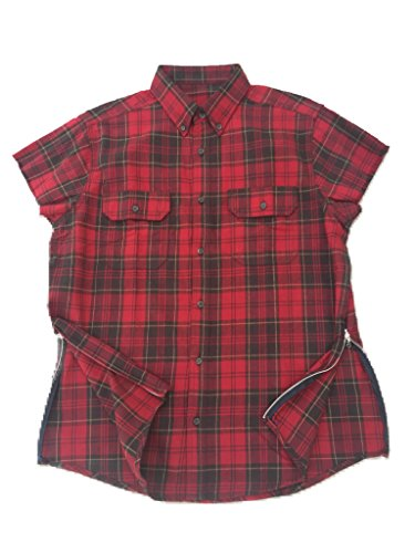 Red/Brown Fear of God inspired Short Sleeve Flannel w/ Side - Shirt Bieber Button Down Justin