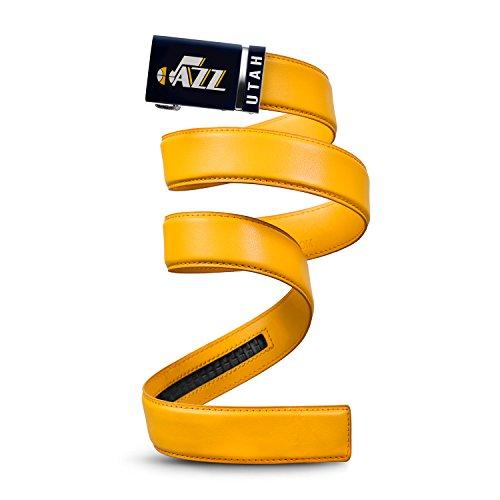 Mission Belt NBA Utah Jazz, Gold Leather Ratchet Belt, Extra Large (Up to ()