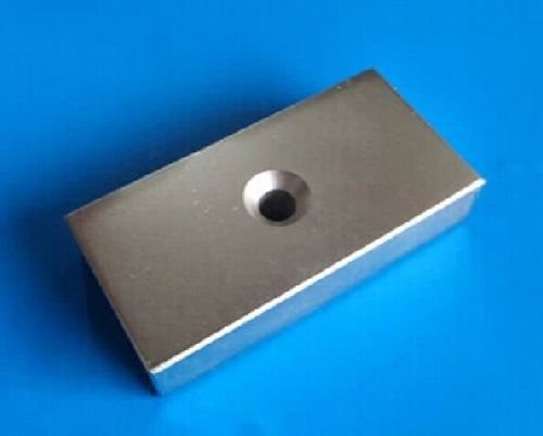 AOMAG Large Rare Earth Neodymium N52 Bar Block Magnet 100 x 50 x 10mm With 10mm Countersunk Hole