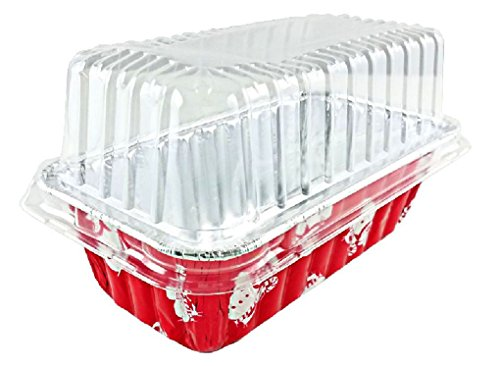2 lb. Red Snowman Holiday Christmas Loaf Bread Pan w/Clear Dome Lids