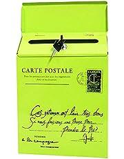 Abimy Caixa de correio para montagem na parede, caixa de correio vintage com trava de ferro, caixa de correio de carta, caixa de jornal