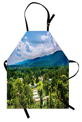 Ambesonne Appalachian Apron, Aerial Photo of Trailer Park and Mountains, Unisex Kitchen Bib Apron with Adjustable Neck for Cooking Baking Gardening, Yellow Green Green Pastel Purple and Azure Blue]()