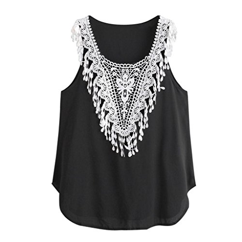 Price comparison product image Funic Clearance !Women Summer Sleeveless Lace Crop Top Vest Tank Shirt Blouse Cami Top (XS (US S), Black)