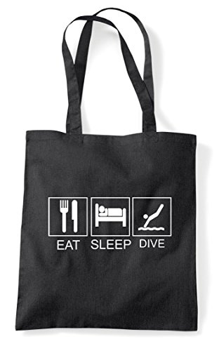 Tiles Eat Funny Dive Bag Shopper Black Tote Activity Sleep Hobby aww7rqEO