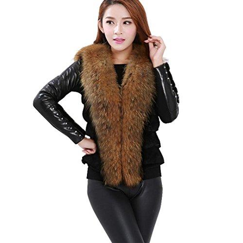 Escudo, abrigo,Internet Abrigo de invierno caliente del chaleco del invierno de las señoras de la moda Chaqueta de piel sintética Negro