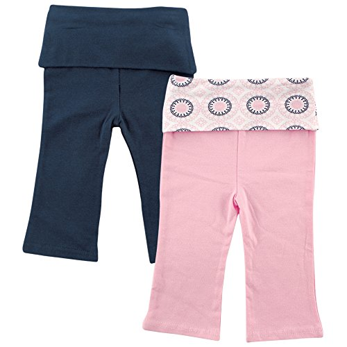 Yoga Sprout Unisex-Baby Yoga Pants, 2 Pack, Navy/Baby Pink Ornamental, 12-18 Months