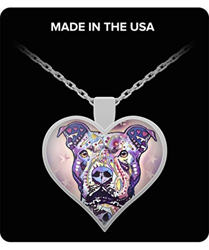 (Limited Edition Purple Charm Pit Bull Picasso Custom Heart Silver Necklace On All)