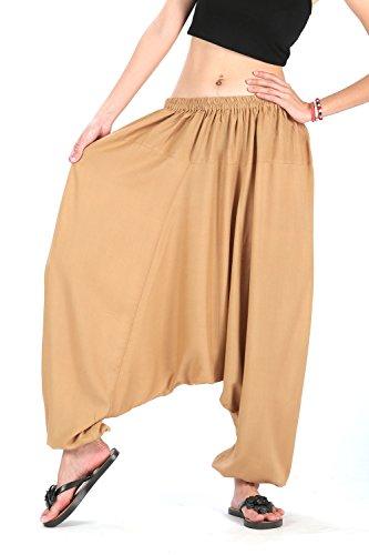 Hippie Khakis (CandyHusky Men Women Elastic Baggy Hippie Boho Gypsy Aladdin Yoga Harem Pants (Khaki))