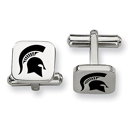 Michigan State University MSU Spartans Stainless Steel Square Cufflinks