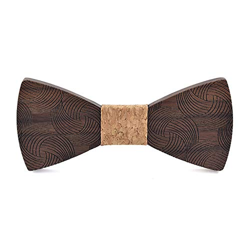 Classic Handmade Men Butterfly Bow Tie Personality Sculpture Suit Wedding Printing Tie Wooden Bow Tie Surface Whirlpools Gift for Men Tuxedo Men's Bow Tie (Color : B)
