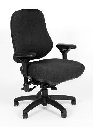 "BodyBilt J2509 Black Fabric XL High Back Task Ergonomic Chair with Arms, 22"" Length x 21.50"" Width Backrest, 23"" Width Seat, Grade 1"