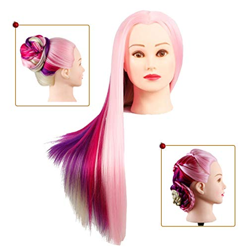 Kalyx 26-28inches Mannequin Head Hair Styling Training Head Manikin Cosmetology Doll Head Synthetic Fiber Hair Long Hair with Free Clamp Mannequin Stand(KAXP3C)