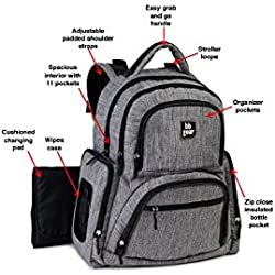 BB Gear Unisex Diaper Bag Backpack for Men and Women – Simple, Lightweight Design With Wipes Holder and 11 Pockets