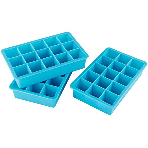 Webake 3-pack Ice Cube Tray, Flexible 15-Cavity Silicone Ice Cube Mold 1 inch - BPA Free, Stackable, Easy Release by Webake