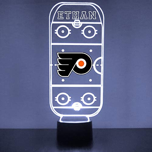 Philadelphia Handmade Acrylic Personalized Flyers Hockey Rink Hockey Rink LED Night Light - Remote, 16 Color Option, Great Personalized Gift, Engraved