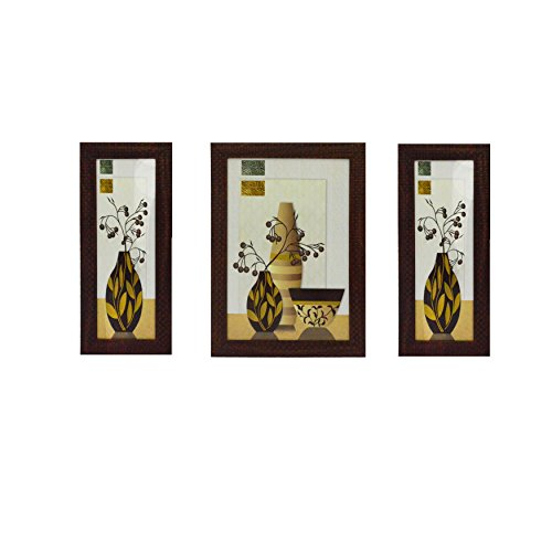 eCraftIndia Set of 3 Botanical Satin Matt Textured UV Art Painting