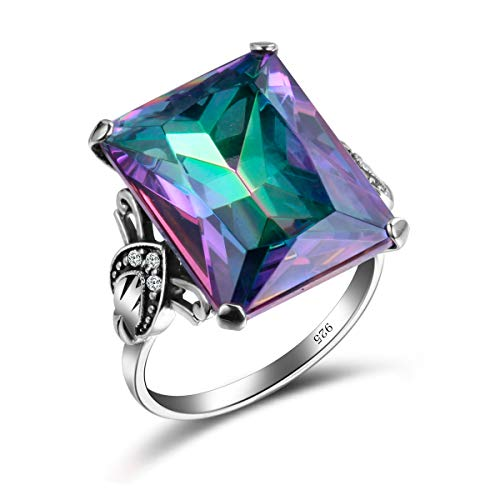 SzjinAo Vintage Antique Design Big Square Mystic Fire Rainbow Topaz Stone Ring with 6pcs Small CZ Cubic Zirconia for Women Men Rings (Size 6) ()