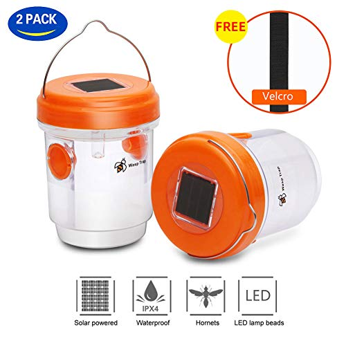 2 Pack 2019 Solar Powered Wasp Trap with UV LED Light,Bee Traps,Yellow Jacket Traps & Wasp Traps for Outdoors,Wasp Killer,Effective and Reusable(Orange)