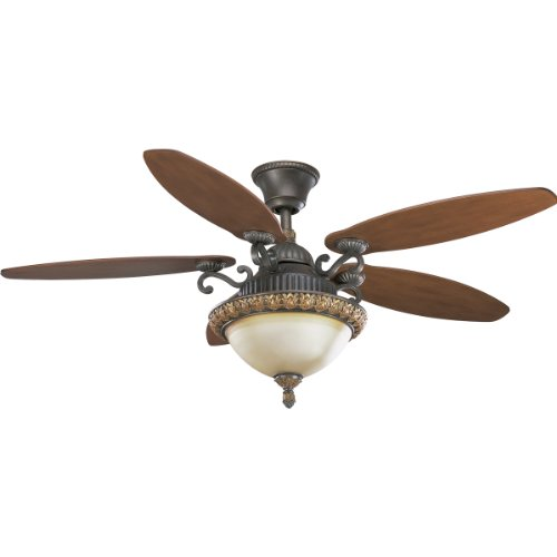 Progress Lighting Iron Ceiling Fan - Progress Lighting P2504-92C 54-Inch Barcelona Fan with 5-Blades and 3-Speed Reversible Motor and Full Function Remote Included, Old Iron Crackle with Waxed Cherry-Blades