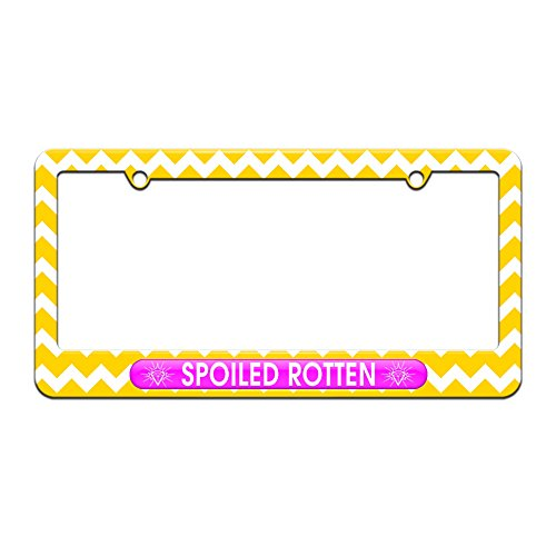 Graphics and More Spoiled Rotten - Diamonds Princess - License Plate Tag Frame - Yellow Chevrons Design