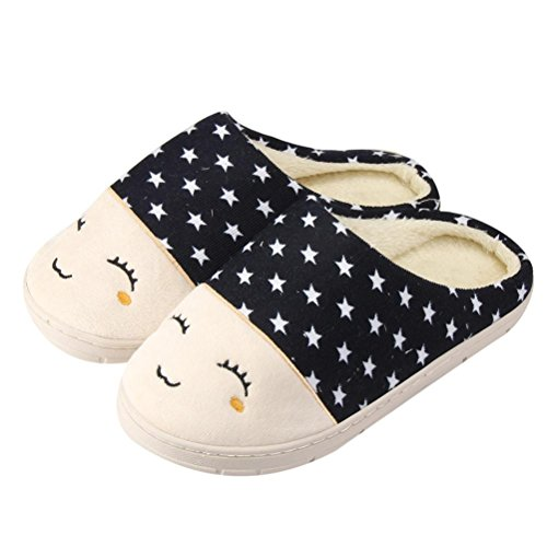 Unisex Slipper,Clode® Womens Mens Cotton Indoor Home Floor Soft Flat Winter Fuzzy Slip On Anti-slip Hard Sole Mules Slippers Shoes Navy