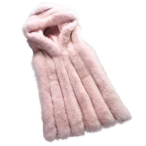 Jacket Outwear Jacket Pink Manadlian Hoodie Faux Black Vest Fur Gilet Down XXL Waistcoat Cardigan Women's 0v6Awnpq6E