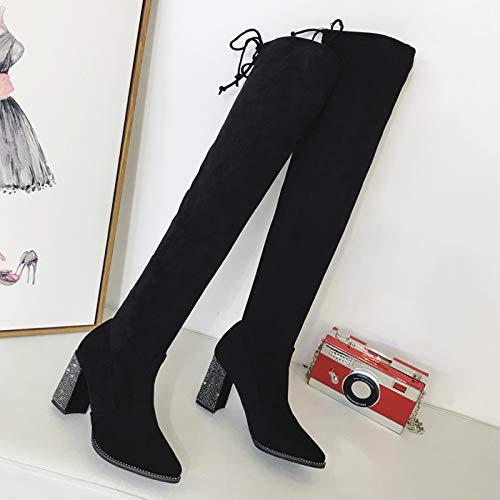 HBDLH Damenschuhe Slim - Knie Stiefel Heel 8 cm Schlank - Slim Spitzen Stiefeln Stiefel 8896d6