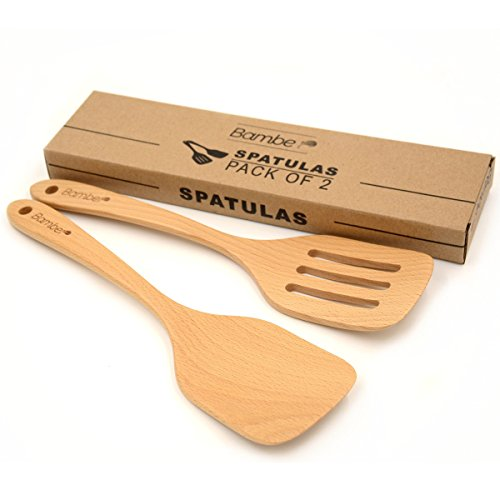 Bamber Wood Spatula Set, Non Stick Wooden Turner, Cooking Utensils, Pack of 2 ()