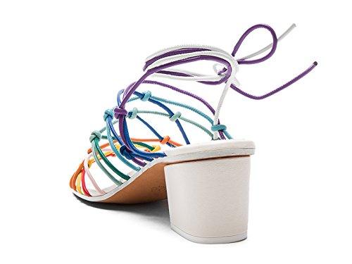 Chloé mediados sandalias de tiras de tacón en cuero varios color - Número de modelo: CH26511 MIX MULTICO Multicolor