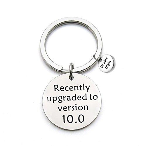FEELMEM Birthday Gift Happy Birthday Keychain, 10th 12th 13th 16th 30th, Stainless Steel Birthday Key Ring Gift, for Women, Men, Kids, Friends and Family (10th Keychain)