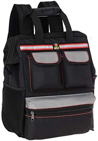 耐久性工具バッグ 多機能プロフェッショナルパワーツールバッグマルチポケット機能テクニシャンバッグバックパック 工具収納&仕分け管理&運搬用 (色 : Black, Size : One size)