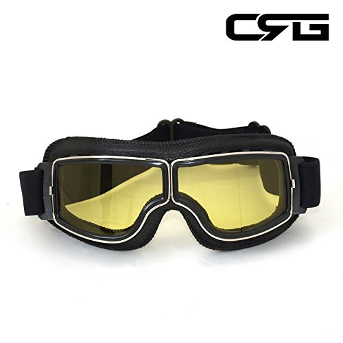CRG Sports Vintage Aviator Pilot Style Motorcycle Cruiser Scooter Goggle T13 T13BCB - Parent (Yellow Lens Black Padding) by CRG Sports