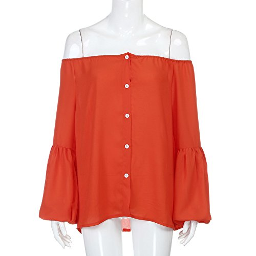 SKY Las mujeres sueltan flojamente de las tapas largas de la camiseta de la blusa de la gasa de la manga del hombro Rojo