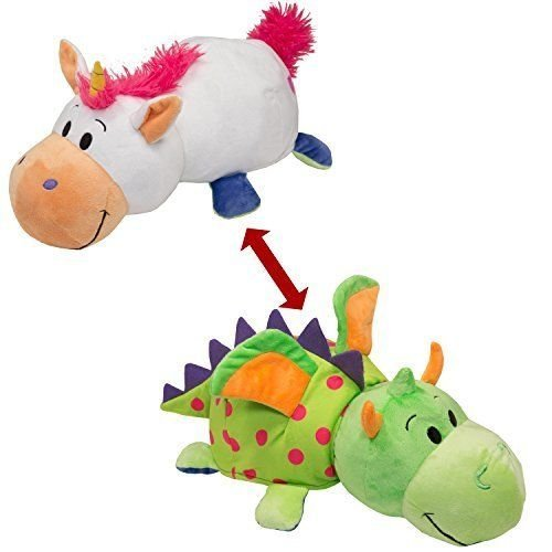 FlipaZoo (DRAGON + UNICORN) 2-in-1 Stuffed Animal 16'' inch - Adorable Stuffed Animals that Transform from one Animal into Another with a Quick Flip.