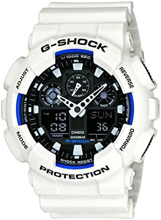 Casio Men XL Series GShock Quartz 200M WR Shock Resistant Resin Color White Model GA100B7ACR